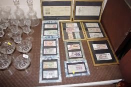 Two framed and glazed Columbian cheques, and vario