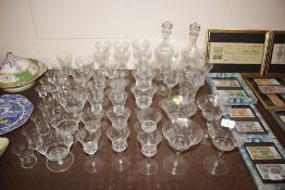 A suite of foliate etched glassware including a pa