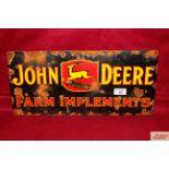"An enamel ""John Deere Farm Implements"" advertising"