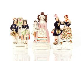 """A Staffordshire figure,""""Oh Nanny, Going With Me""""; another of a highland gardening couple; and"""