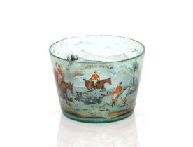 A 19th Century bubble glass bowl,painted with a stag hunting scene in landscape, figures on