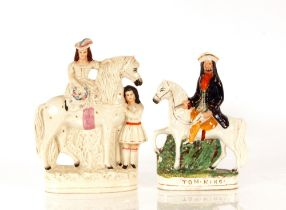 A Staffordshire flat back figure,Girl on a Horse with Attendant Groom, 31cm high; and another