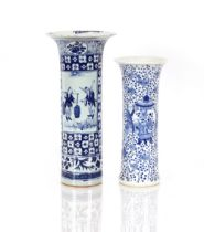 A 19th Century Chinese blue and white porcelain cylindrical vase,decorated figures, prunus and