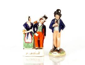 """A Staffordshirefigure,""""Mrs & Mr Caudle""""; and another """"Gin and Water"""" (2)"""