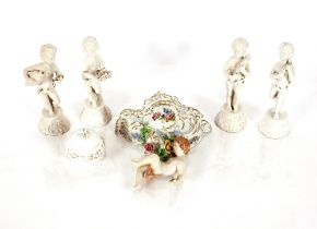A 19th Century German porcelain wall pocket,of Cornucopia form having cherub decoration, heightened