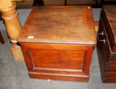 A Victorian mahogany box commode,with fold up arm rests, 55cm