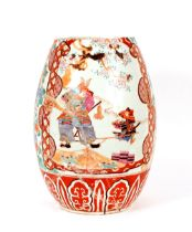 A large 19th CenturyChineseFloral vase,decorated warriors and foliage, reduced in height and AF
