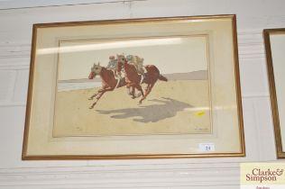 A watercolour study depicting horses racing along