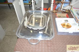 An Elkington silver plate twin handled tray togeth
