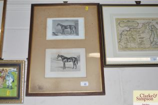 Two black and white prints depicting horses, conta