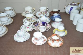 A quantity of various cups and saucers to include