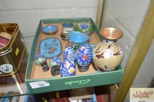 A box containing various Cloisonné ware