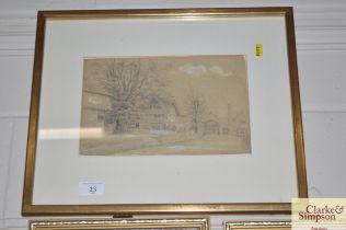 A framed in glaze pencil sketch depicting a street