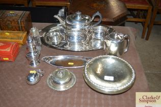A quantity of silver plated teaware etc.