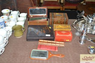 A tea caddy; and an oriental lacquered box; jewell