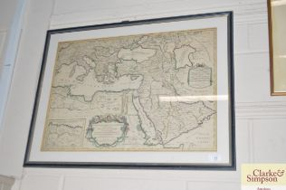 A 19th Century hand coloured map of the Turkish Em
