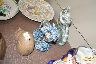Three Studio pottery cat ornaments