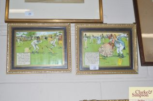 A pair of humorous cricket prints by Charles E D C