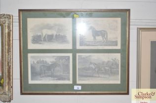 Four black and white prints depicting horses house