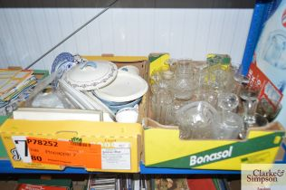 Two boxes containing various sundry glass and chin