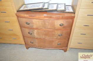 A 19th Century mahogany bow front chest fitted thr