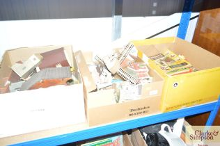Three boxes of various hobby annuals, model houses