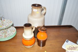 Three west German pottery vases