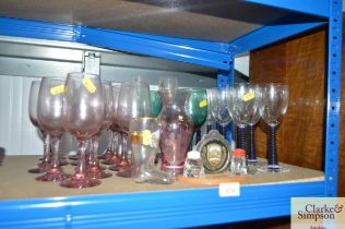 A quantity of various drinking glasses, souvenir c