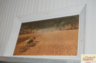 A large framed print depicting a farming scene