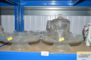 Two hors d'oeuvres dishes, two glass pedestal dish