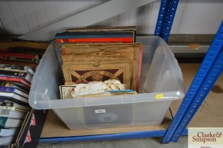 A box of various records