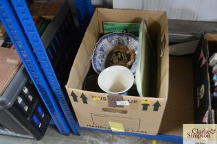 A box containing various china to include blue and