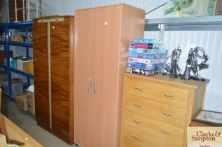 A beech effect two door wardrobe