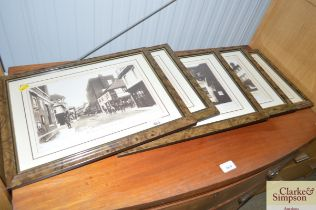 Five black and white prints depicting various scen