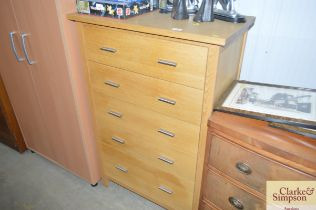 A G plan light oak chest fitted five long drawers