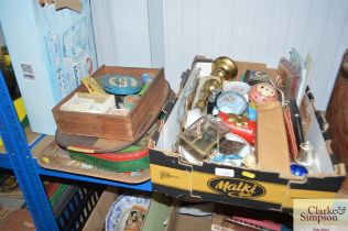 A box of various sundry items together with a quan