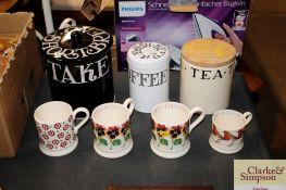 Four Emma Bridgewater mugs together with three Emm