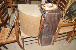 A walnut and cane seated bedroom chair; an oak and