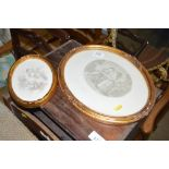 Two oval gilt framed classical prints