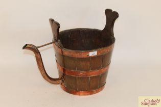 A rare 19th Century copper bound coopered oak dair