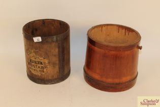 An antique pine flour barrel and a Colmans mustar