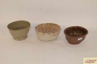Three Victorian stoneware jelly moulds