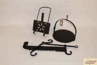 A Victorian chimney ratchet; iron skillet and a down