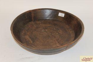 "A turned elm maize bowl, approx. 16"" dia."