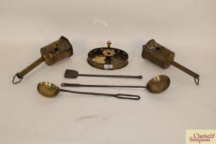 Two early 19th Century brass down hearth bottle ja
