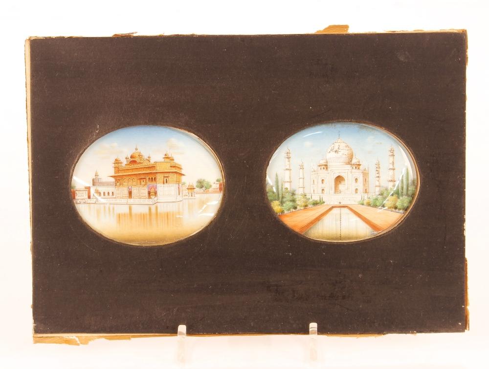Two Indian oval miniature portraitsof the Taj Mahal,framed as one - Image 2 of 3