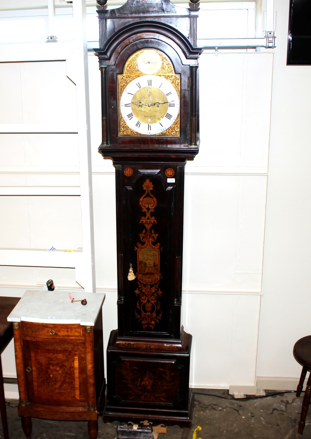 A George III and later marquetry inlaid mahogany long case clock,the domed hood with three brass - Image 6 of 7