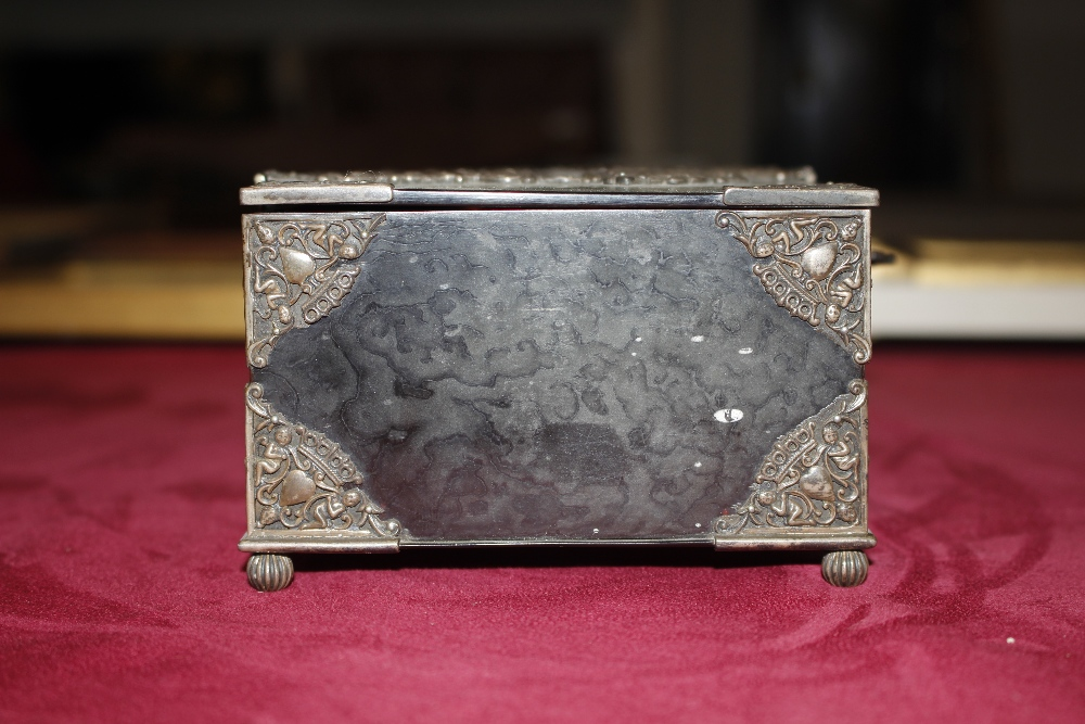 A 19th Century tortoiseshell and white metal mounted trinket casket,having pierced foliate and - Image 6 of 19