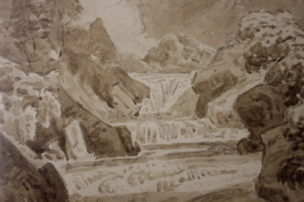 Attributedto J Curstall 1767-1847,study of a waterfall, unsigned pencil and watercolour, 19cm x - Image 7 of 9