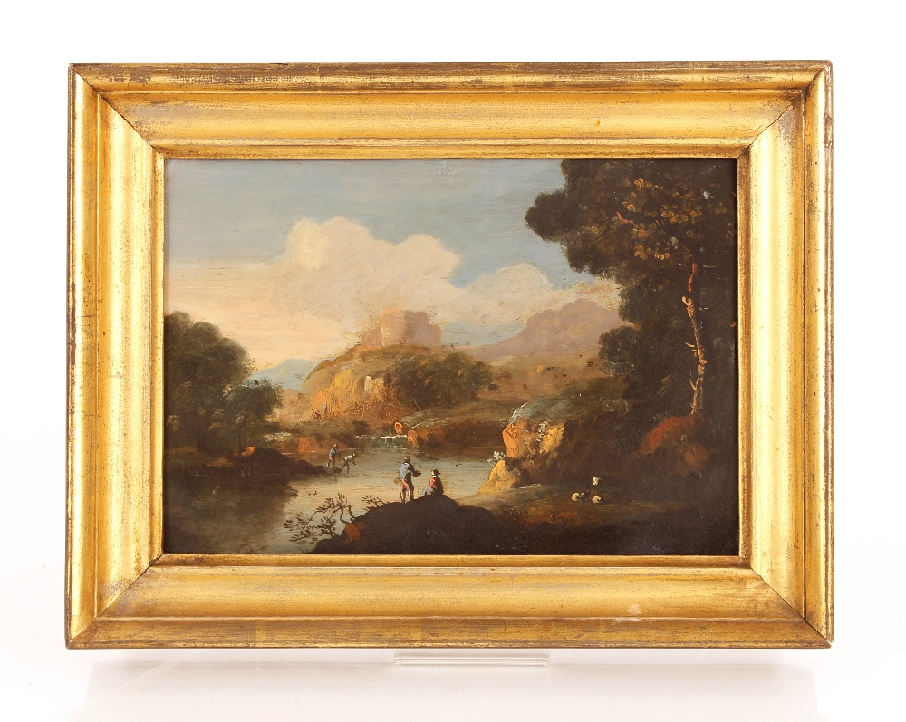 Continental school, 18th Century, a hilly Italianate river landscape with figures fishing, oil on - Image 2 of 2